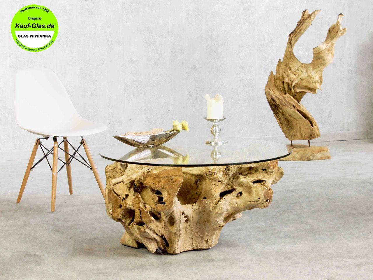 Glastisch Holzglastisch Designer Couchtisch Baumwurzel Mit